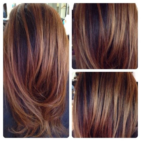 hi lites balayage on dark hair love doing carmel chestnut hi