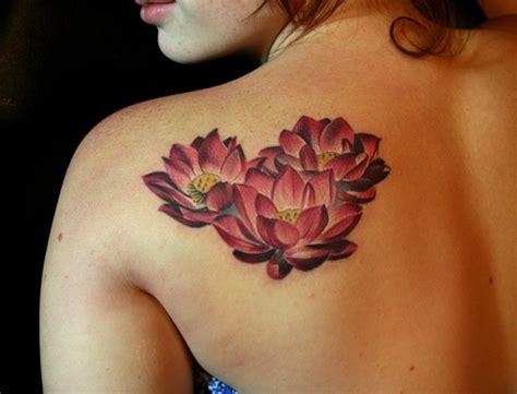 lotus tattoo shoulder blade nice dark red lotuses tattoo on shoulder blade