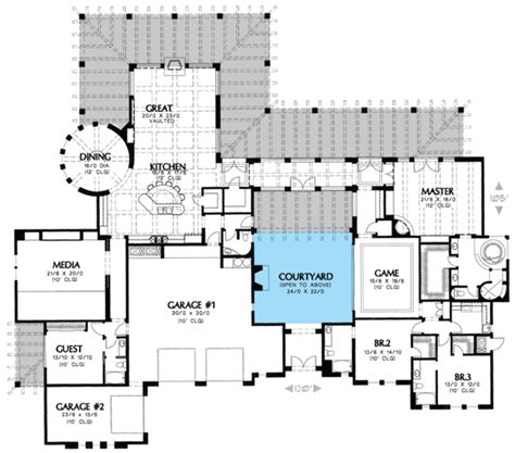 center courtyard house plans plan w16314md unique courtyard home plan e architectural design