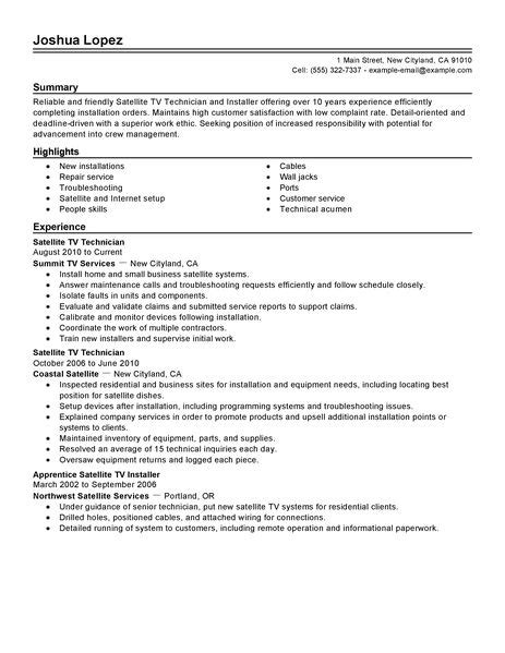 Satellite Installer Sle Resume by Simple Satellite Tv Technician Installer Resume Exle Livecareer