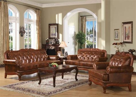 living rooms with leather furniture traditional formal 2pc sofa set living room top grain