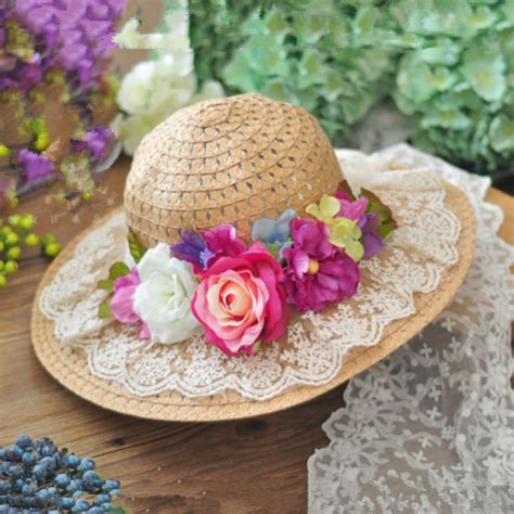 Flower Straw Hat vintage straw hats for lace flower decoration wide
