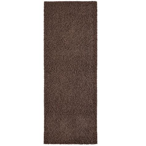 custom shag rugs lanart custom shag brown 2 ft x 8 ft indoor runner custshag2x8ha the home depot