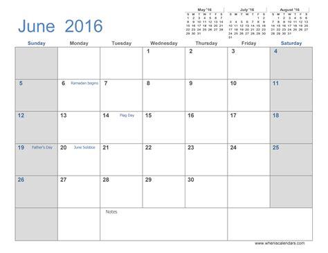 June 2016 monthly calendar template