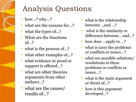 Analysis Questions Template critical thinking