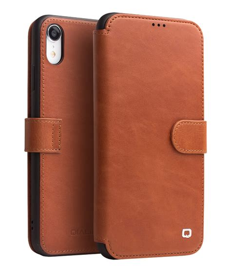 leather magnetic clasp flip case  iphone xr qialino
