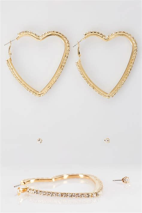 Email Delivery Visa Gift Card - 2 pack gold diamante heart hoop earrings stud set