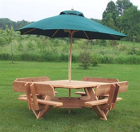 picnic table with umbrella 56 quot cedar picnic table with attached backs