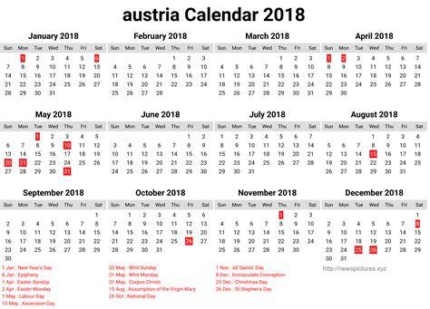 Austria Calend 2018 Austria Calendar 2018 With Holidays List 2018