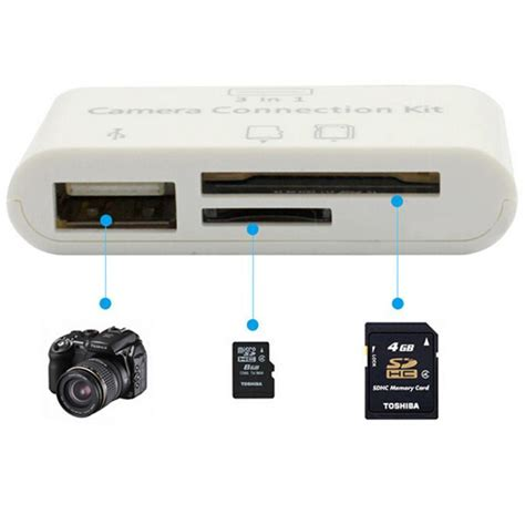 3in1 micro sd memory card reader dslr adapter for