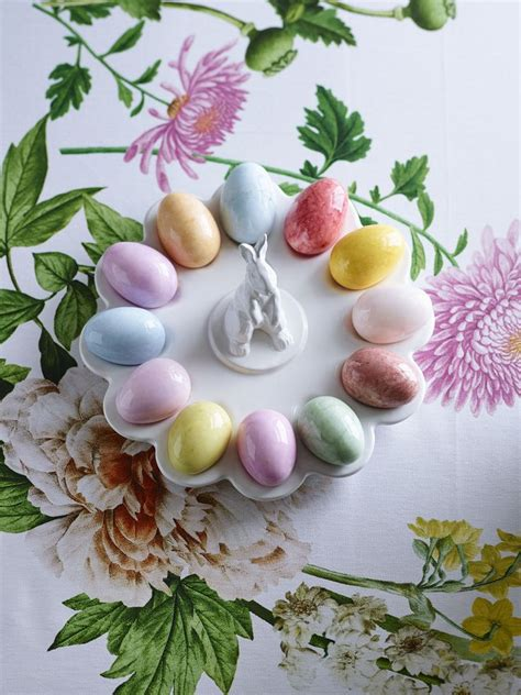 Decorated Deviled Eggs For Easter by Our White Ceramic Bunny Platter Is For Serving