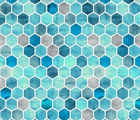 watercolor ink pattern blue ink watercolor hexagon pattern fabric micklyn
