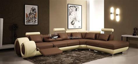 Sofa Leter L Warna Coklat canape d angle cuir salon hawai canape d angle noir