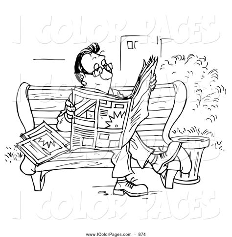 coloring book news coloring page of a average reading the news on a park