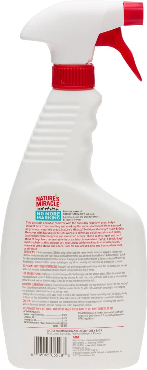 Natures Miracle No More Marking Stain Odor Remover 709ml nature s miracle no more marking pet stain odor remover 24 oz bottle chewy