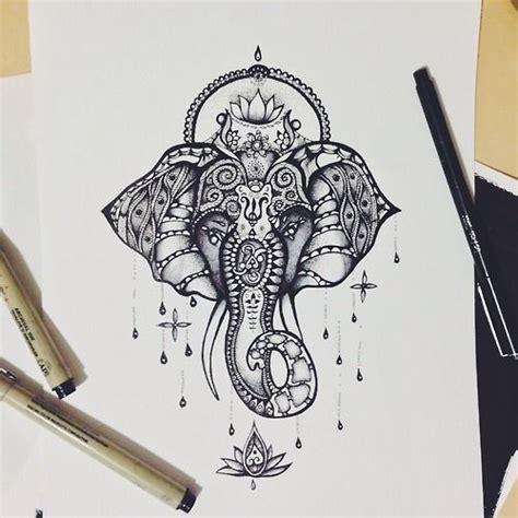 hindu elephant tattoo designs drawing illustration jewelry beautiful patterns