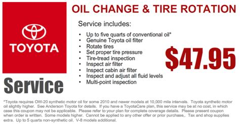 Toyota Change Specials Service Department Coupons Specials Toyota