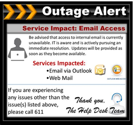 email outage communication update employees with email
