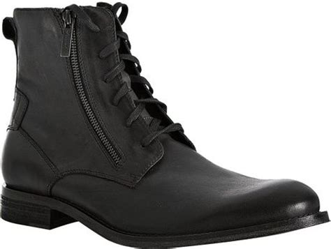 kenneth cole black leather mind zipper detail lace up