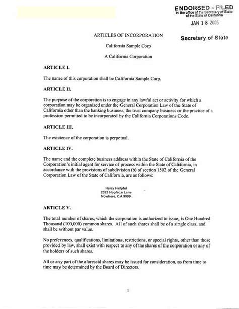 california articles of incorporation template articles of incorporation california free printable