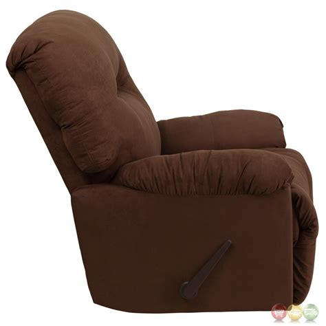 chocolate microfiber recliner contemporary calcutta chocolate microfiber chaise rocker