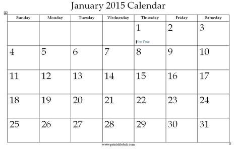 Jan 2015 Calendar January 2015 Printable Calendar 171 Printable Hub