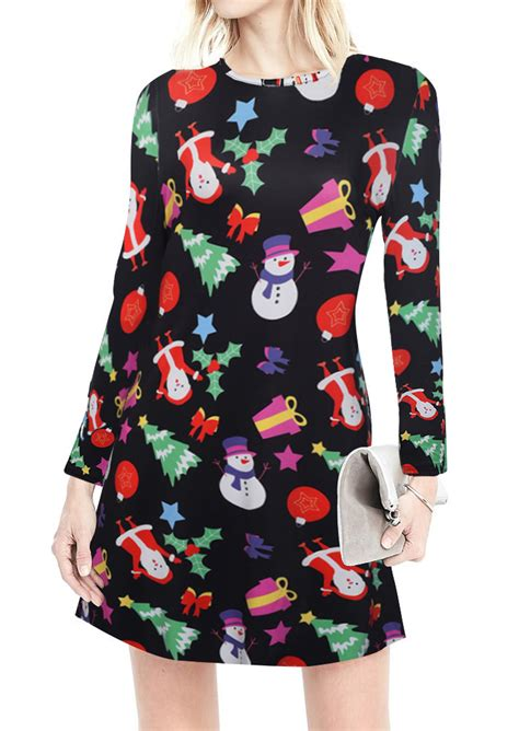 christmas printed casual dress fairyseason