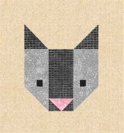 Patchwork Cat Quilt Block Patterns - cat quilt block pattern pdf instant modern