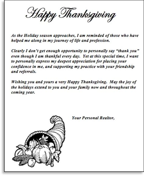 thanksgiving appreciation letter to clients this mailing brings you referrals inner circle