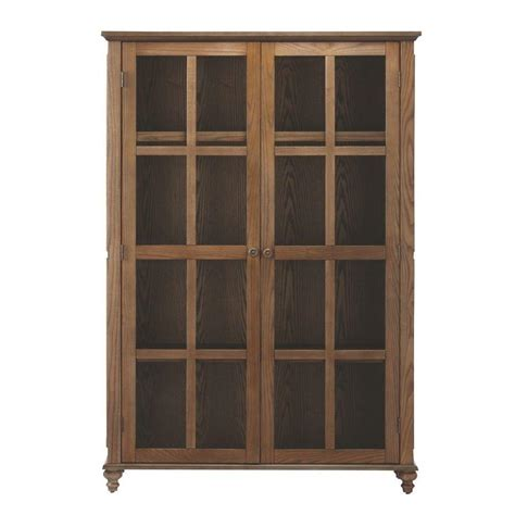 Shelf With Glass Doors Home Decorators Collection Shutter 4 Shelf Glass Door Bookcase In Weathered Oak 1273300410 The