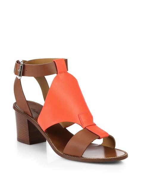 orange sandal heels pink pony block heel leather sandals in orange lyst
