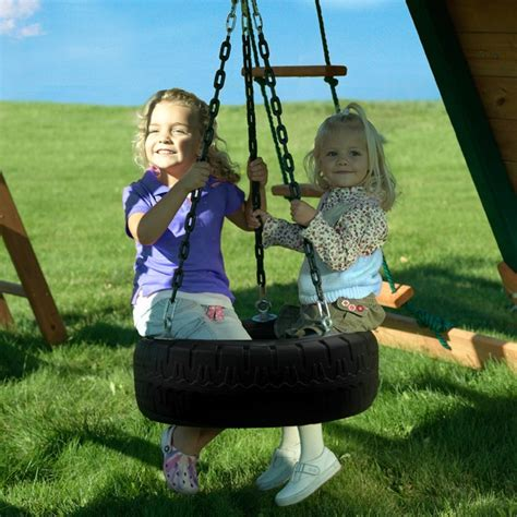 children on swing kids tire swing by kid s creations