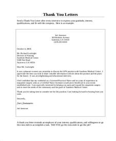 Thank You Letter After Interview Nursing sample nursing interview thank you letter 6 examples in word pdf