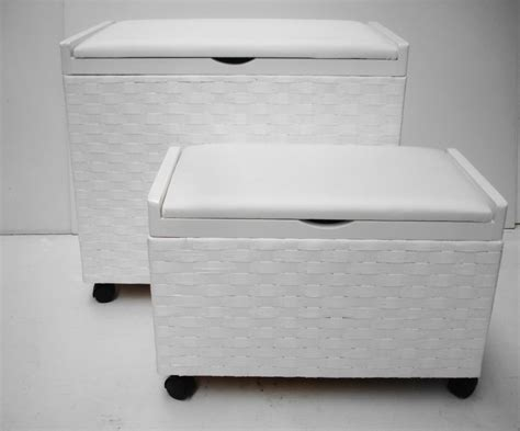 Laundry Seat White Shabby Chic Toy Box Laundry Basket Storage Trunk