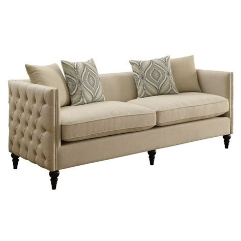 beige settee coaster claxton tufted fabric sofa in beige 526119