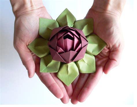 Lotus Flower Paper Folding - handmade paper flower origami lotus flower decoration or