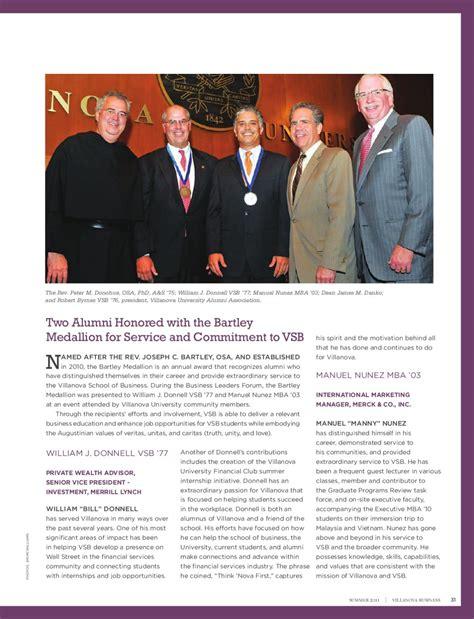 Villanova Mba Alumni Association by Villanova Business Summer 2011 By Moire Marketing Partners