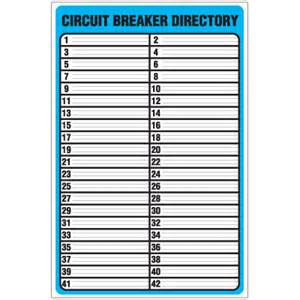 Circuit Directory Template circuit breaker directory with adhesive backed holder