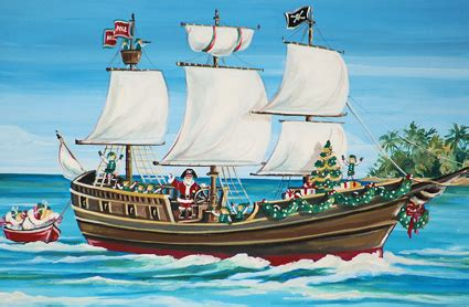 boat shipping from florida to california pirate ship christmas card