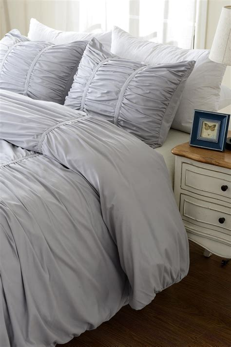 grey ruched comforter gray ruched design bedding set includes comforter and