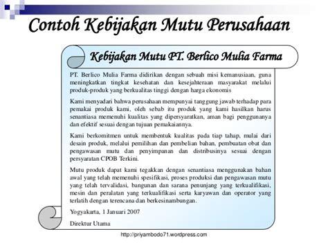 Manajemen Strategik Kebijakan Perusahaan cpob 2012