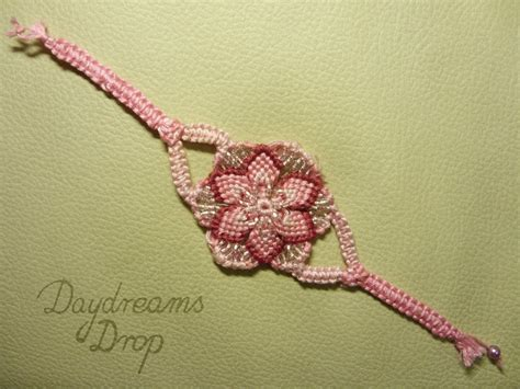 Macrame Flower Knot - pink macrame flower bracelet by daydreamsdrop on deviantart