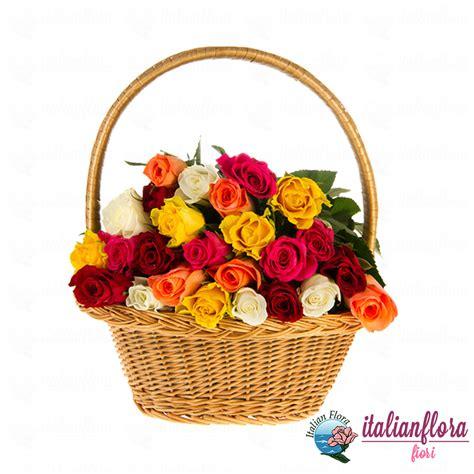 fiori e fiori vendita cesto di roselline colorate consegna a domicilio