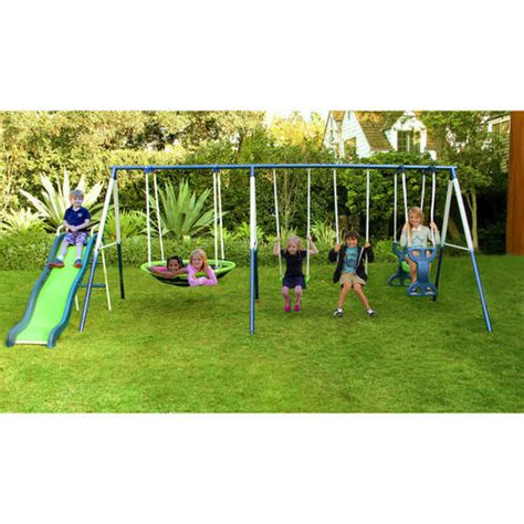walmart outdoor swing sets sportspower rosemead metal swing and slide set walmart com