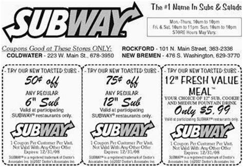 printable subway coupons canada subway printable coupons july 2017