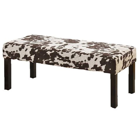 cow print bench alma contemporary fabric upholstered cowhide pattern
