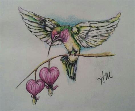 heart and bird tattoo designs original drawing for memorial humming bird and