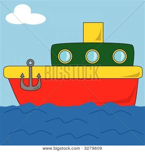 cartoon boat on the sea stock vector stock photos bigstock - Cartoon Boat On The Sea