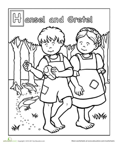 printable version of hansel and gretel hansel and gretel coloring page worksheets school and