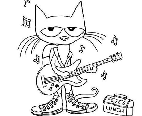 pete the cat coloring page pete the cat plays guitar coloring page coloring pages